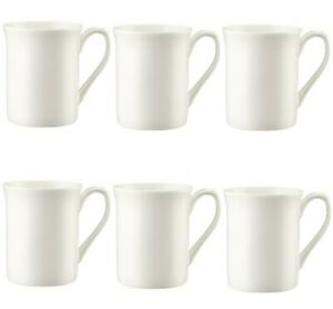 SET OF 6 fine quality ceramic  WHITE MUG LARGE SIZE 280ML FOR CHAI COFFEE LOVERS