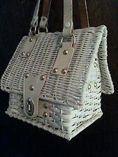 White wicker birdhouse wicker figural purse or wicker house  mister ernist simon