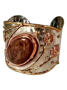 Welded Mixed Metal Cuff Bracelet with Large COPPER OBSIDIAN Stone, by Anju