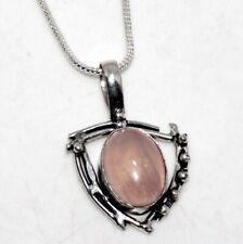 """Rose Quartz 925 Sterling Silver Plated Necklace 18"""" Gift Jewelry GW"""