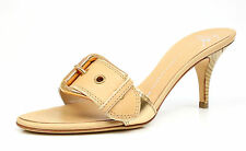 Giuseppe Zanotti 1059 Tan Gold Metallic Buckle Heel Slide Sandals Size 38