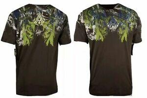 AFFLICTION FABRICATE Men's T-Shirt Black/Brown Biker MMA