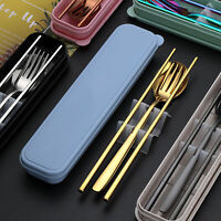 UK Portable Stainless Steel Cutlery Travel Fork Chopsticks Spoon Picnic Set