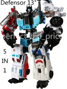 "New Kids Gift Deformabl Robot Defensor HZX 5 In 1 Action Figure IDW KO 13"" Toys"