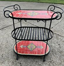 Vintage Iron Tile Inlay Rolling Bar Cart Spanish Revival