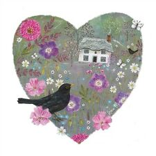 Beautiful heart with blackbird and flowers blank card suitable for any occasion