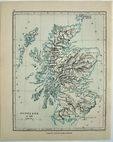 Vintage Map of Scotland in 1285 by Longmans Green 1898