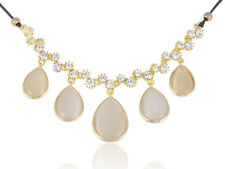 Golden Tone Pastel Teardrop Bead White Rhinestone Accented Fashion Necklace Clr