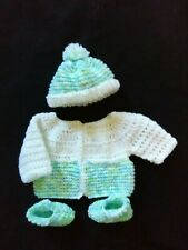 Hand Crocheted Blue Baby Sweater, Hat and Booties