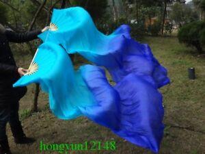 100% silk blue/dark blue belly dance fan veil 1 pair(left+right) 1.5m 1.8m long
