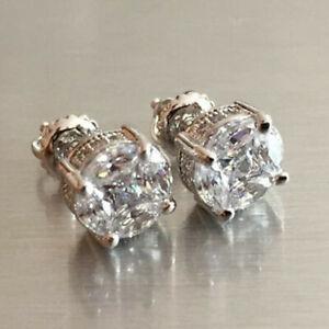 Elegant 925 Silver Jewelry Stud Earrings for Women Cubic Zircon Wedding Gift