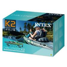 Intex K2 Challenger Kayak 2 Person Inflatable Canoe With Oars And Hand Pump