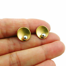 925 Silver and Brass Designer Circle Ball Bead Stud Earrings
