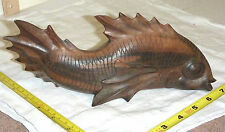 "Magnificent Hand-Carved Wood FISH Sculpture/Figurine - Indonesia (9L x 4H x 3""W)"