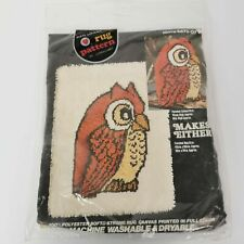 Hootie Owl Rug Canvas Coats & Clark 18 x 24 Red Heart Sealed Vintage Sealed