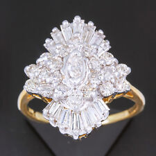 Hand Ring 14k Two Tone Gold ct 2 carat tw Diamond Ballerina Cocktail Right