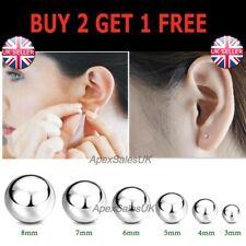 1 Pair Genuine 925 Sterling Silver Ball Bead Studs Earrings Round Stud Earrings