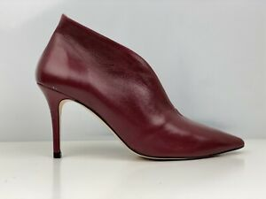 Office Women's Burgundy Brown Leather Stiletto Ankle Boot UK Size 8