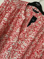 LADIES M&S SIZE 20 RED WHITE FLORAL MIX SOFT BLOUSE TOP FREE POST