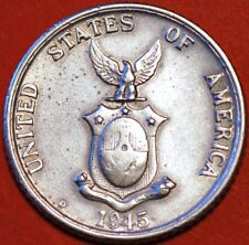 20 Centavos 1945 D USA Philippines Silver KM#182