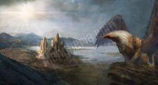 Quadro legno 59 x 32 cm stampa in alta qualità fantasy grifone castello mare