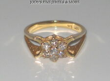 MAGNIFICENT ESTATE 14K YELLOW GOLD 7 DIAMOND LADIES FLORAL RING B.H. Size 5.5