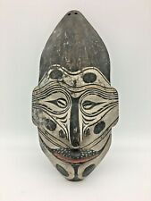 """Vtg African Head Mask Wall Plaque Carved Wood Painted Tribal Art Shell Eyes 11"""""""