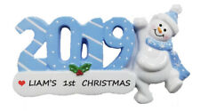 Personalized 2019 Single Snowman Boy Christmas Ornament