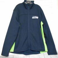 NFL Seattle Seahawks XXL Blue Green Heavy Knit  Mens Pullover Zipper Jacket