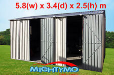 Garden Storage Workshop Shed 5.8m x3.4m x 2.5m High, Double n Single Door