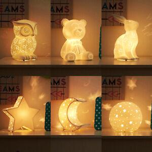 Childrens Kids Baby Night Light White Porcelain Bedroom Lamp Desk Fairy Lights