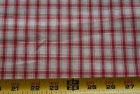 "By 1/2 Yd, 58"" Wide, Vintage, Red & Cream Plaid Homespun Cotton, P133"
