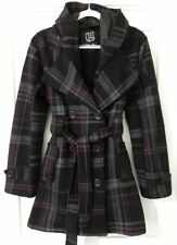 Woman's Slightly Flared & Fit. Hood Checked Coat. Colour Charcoal Grey Purple.