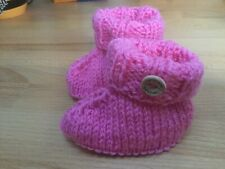 Cute Hand Knitted 0 To 3 Months Pink Baby Bootees