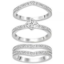 Swarovski Alpha Ring - 5221379: Three ring set in silver-tone with crystal, 58/8