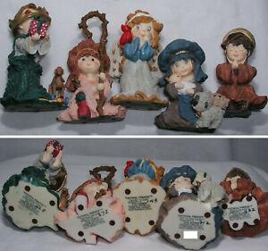Christmas Nativity Faithful Friends 5 pc Mary w Jesus Joseph King Shepherd Angel