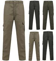 Mens Combat Trousers Work Utility Cotton Blend New Pockets Elasticated Waist