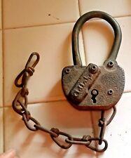 Antique Adlake (Adams & Westlake )Railroad Switch Padlock w/ Chain - no Key