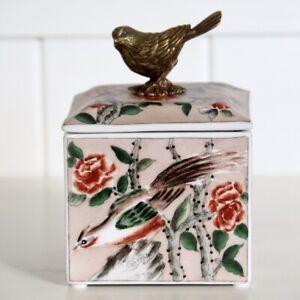 Avignon Trinket Box Porcelain Dusty Rose Keepsake Storage Hamptons Coastal Home