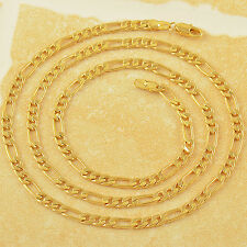 24 Inches 9K Solid Gold Plated3-Link Figaro Mens Necklace,Z1926