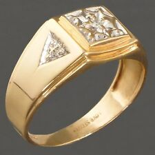 Retro Solid White & Yellow Gold, Pave Set Diamond, Gentleman's Estate Ring, NR