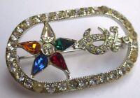 broche ancienne couleur argent bijou vintage cristal rouge bleu et diamant 2459
