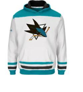 NHL San Jose Sharks Hockey Hooded White Sweatshirt New Youth SMALL