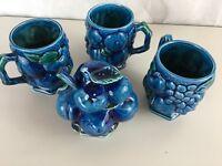 Inarco Blue MOOD INDIGO 3 Mugs Ceramic Coffee Cups Vintage Japan and Sugar Bowl