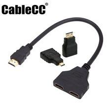 Cablecc HDMI to Dual HDMI Female Splitter Extension Cable Micro & Mini HDMI