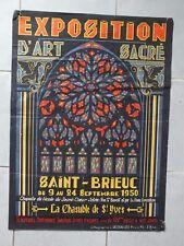Affiche exposition d'art sacré ancienne 1940 - Saint Brieuc 1950 - ill.JB