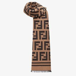 FENDI Rectangular brown wool and silk knitted scarf with all-over FF motif