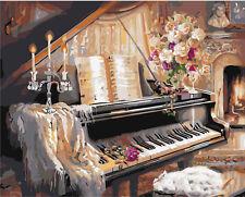 40x50cm Malen nach Zahlen DIY Klavier Malerei Zimmer Dekor Rahmenlos 61