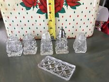 Vintage Hand Cut Lead Crystal made in Japan Salt and Pepper Shakers Cut Glass