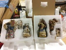 Jim Shore Holy Family 2004 Ornaments With Companion Shepherd, Donkey And Sheep